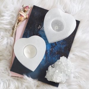 SELENITE HEART TEALIGHT HOLDER | LAW OF ATTRACTION STORE