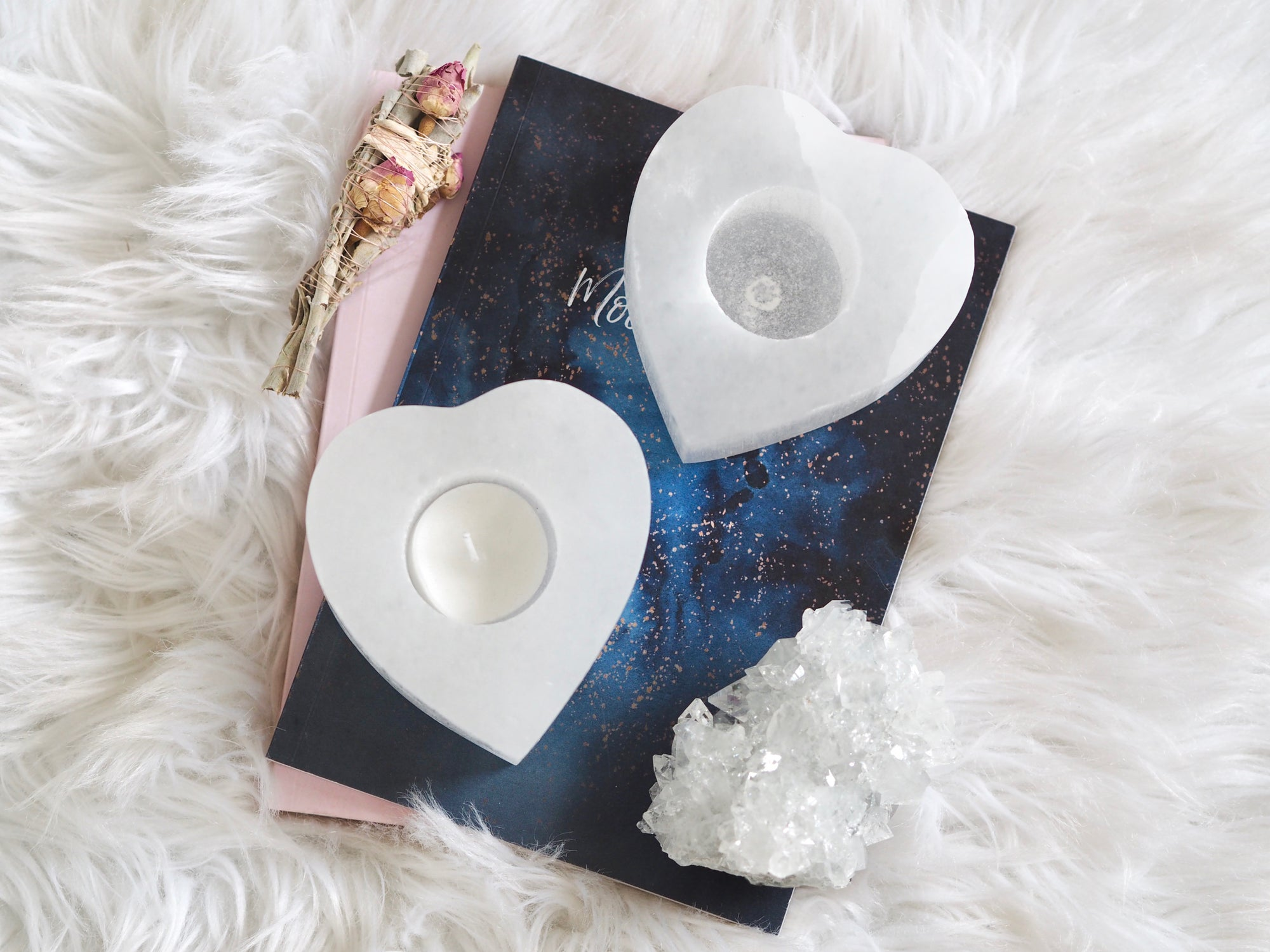SELENITE HEART TEALIGHT HOLDER   LAW OF ATTRACTION STORE