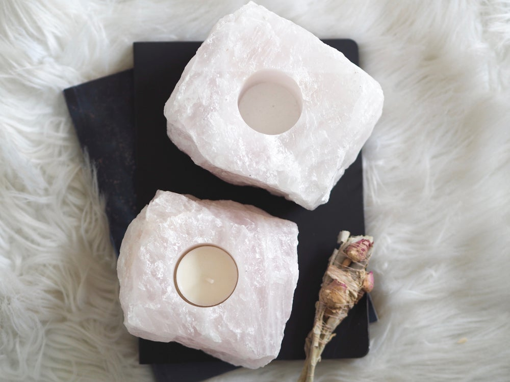 ROSE QUARTZ TEALIGHT HOLDER | LAW OF ATTRACTION STORE
