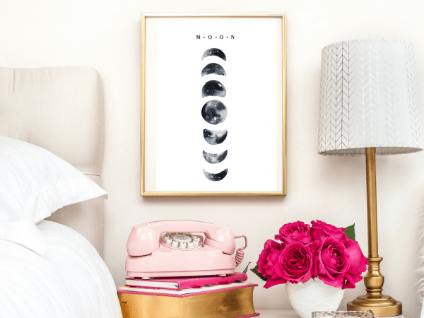 MOON CYCLE PRINT   TYPOGRAPHIC PRINT   A4 PRINTABLE (LAW OF ATTRACTION)