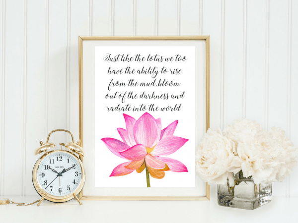 LOTUS FLOWER BUDDHA QUOTE | TYPOGRAPHIC PRINT | A4 PRINTABLE (LAW OF ATTRACTION)