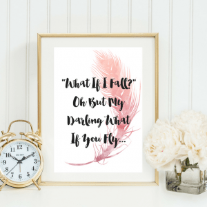 WHAT IF I FALL | TYPOGRAPHIC PRINT | A4 PRINTABLE (LAW OF ATTRACTION)