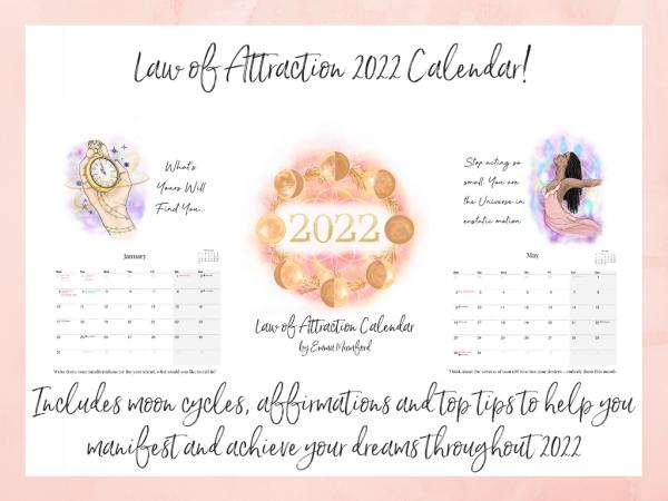 2022 Law of Attraction A4 Calendar by Emma Mumford